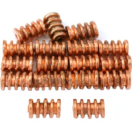 15g Bali Coil Tube Beads Copper Plated 9mm Approx - Bali Style Tube Bead