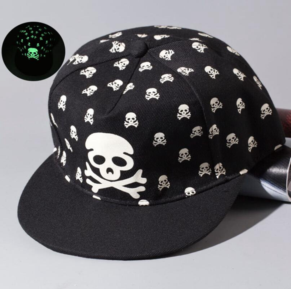 Luminous Hip-Hop Baseball Cap Glow In The Dark Night Green Light TFBOYS Color:skull
