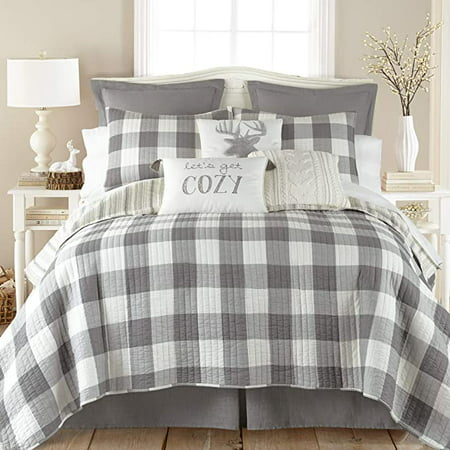 Levtex Home - Camden Quilt Set -Twin Quilt + One Standard Pillow Sham - Buffalo Check in Grey and Cream - Quilt Size (68 x 86 in.) and Pillow Sham Size (26 x 20 in.) - Reversible Pattern - Cotton