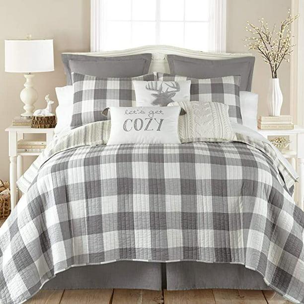 Levtex Home Camden Quilt Set Twin One Standard Pillow Sham Buffalo Check In Grey