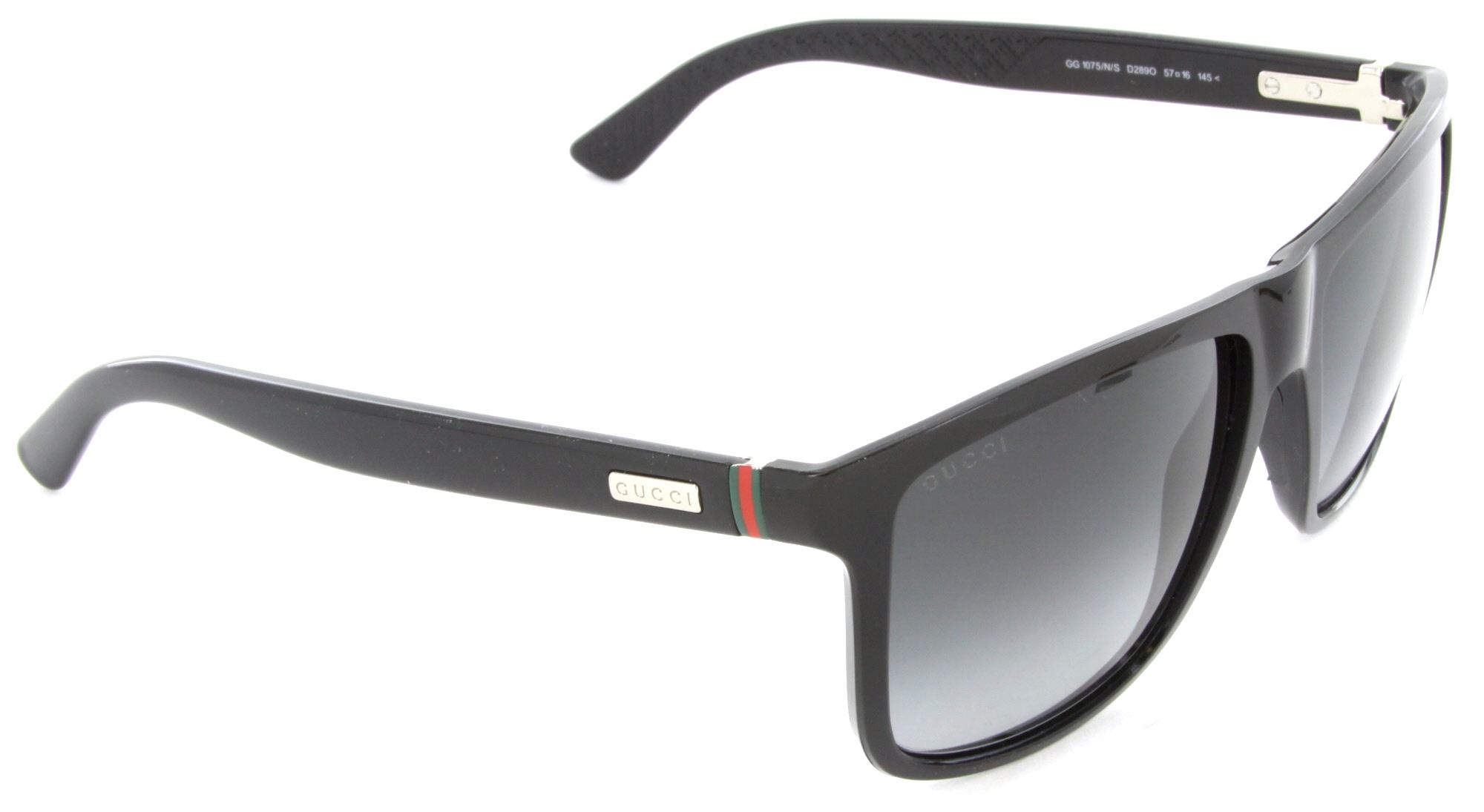 b61e6a207d Gucci - Gucci GG 1075 N S D28-9O Rectangle Sunglasses Shiny Black Dark Grey  Gradient Lens - Walmart.com