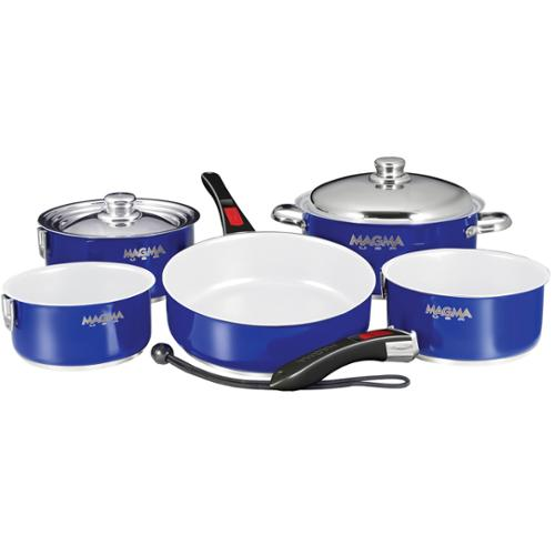 MAGMA COOKWARE NESTABLE 10 PC COBALT SS W CERAMIC NON STICK