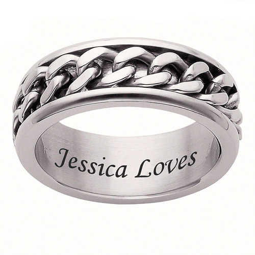 personalized s curb chain stainless steel spinner band
