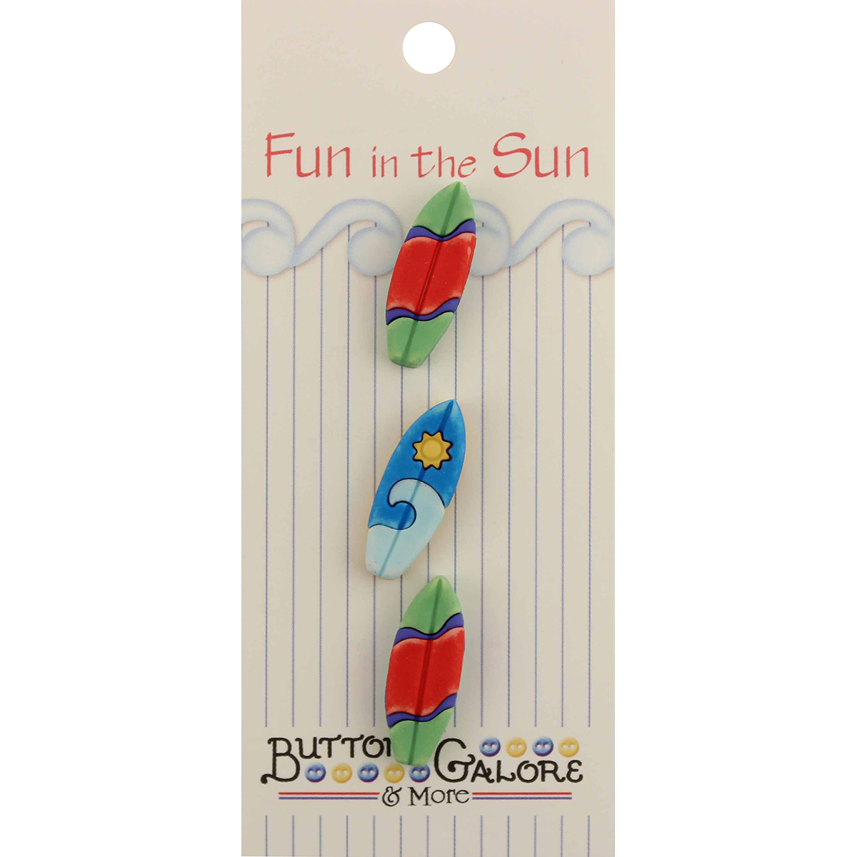 Fun In The Sun Buttons-Surfboards Multi-Colored