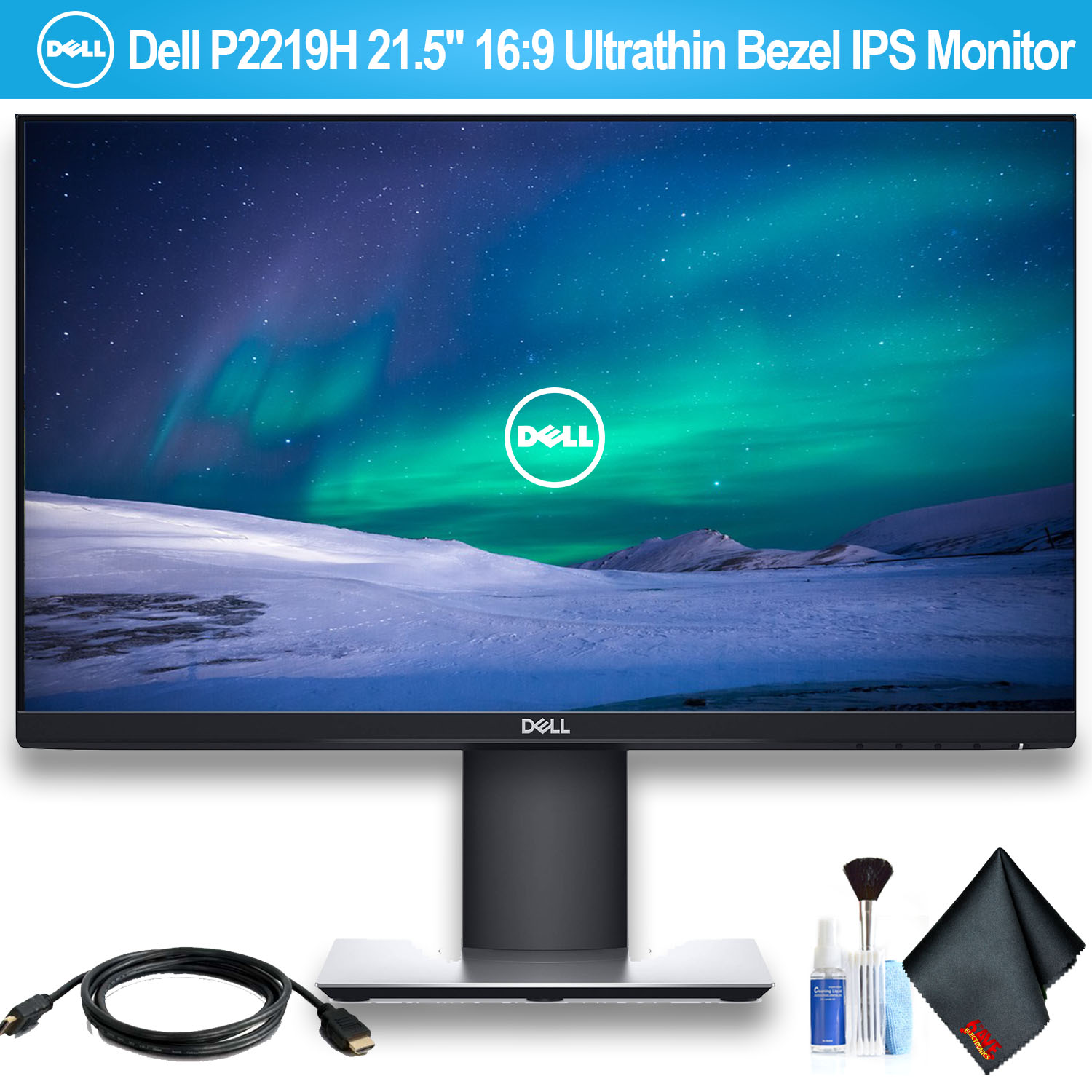 """Dell 21.5"""" 16:9 Ultrathin Bezel IPS Monitor With HDMI Cable"""