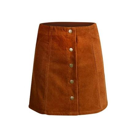 OUMY Women Retro High Waist Corduroy Button Front A-Line Mini Skirt