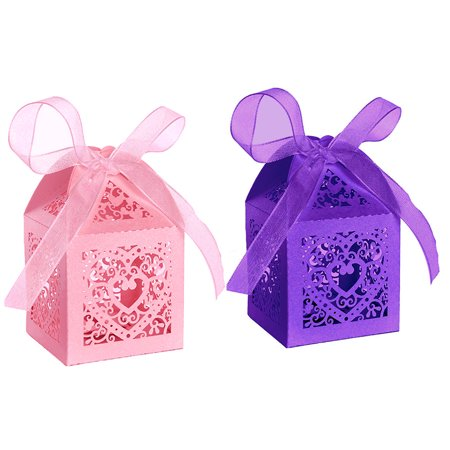 50pcs Party Wedding Favor Candy Box With Ribbon Laser Cut Love Heart Chocolate Gift Boxes Bonbonniere for Birthday Bridal Shower Valentine's Day Christmas Decoration