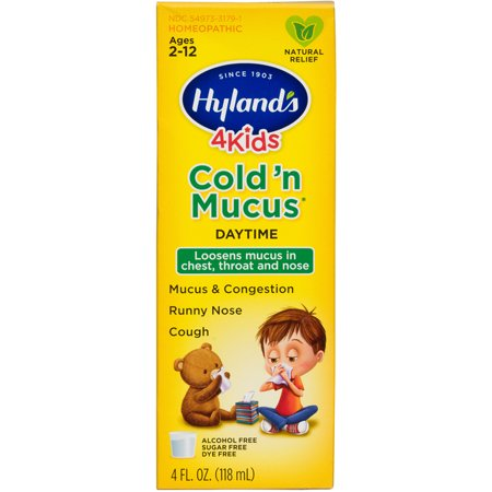 Hyland's 4 Kids Cold 'n Mucus Relief Liquid, Natural Relief of Mucus & Congestion, Runny Nose, Cough, 4