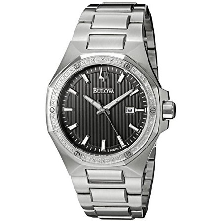 Bulova Men's Diamonds Stainless Steel Black Textured Dial