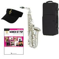 Women of Pop Silver Alto Saxophone Pack - Includes Alto Sax w/Case & Accessories, Women of Pop Play Along Book