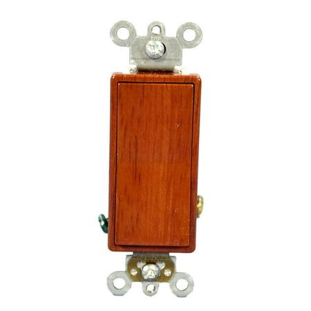 Leviton D5691-WALCommercial Grade Walnut Wood Finish Single Pole Rocker Switch 15A 120/277V - Walnut Wood Single