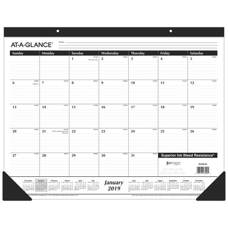 AT-A-GLANCE 2019 Monthly Desk Pad, 21 3/4