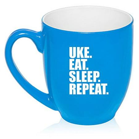 16 oz Large Bistro Mug Ceramic Coffee Tea Glass Cup Uke Eat Sleep Repeat Ukulele (Light - Blue Glass Cups
