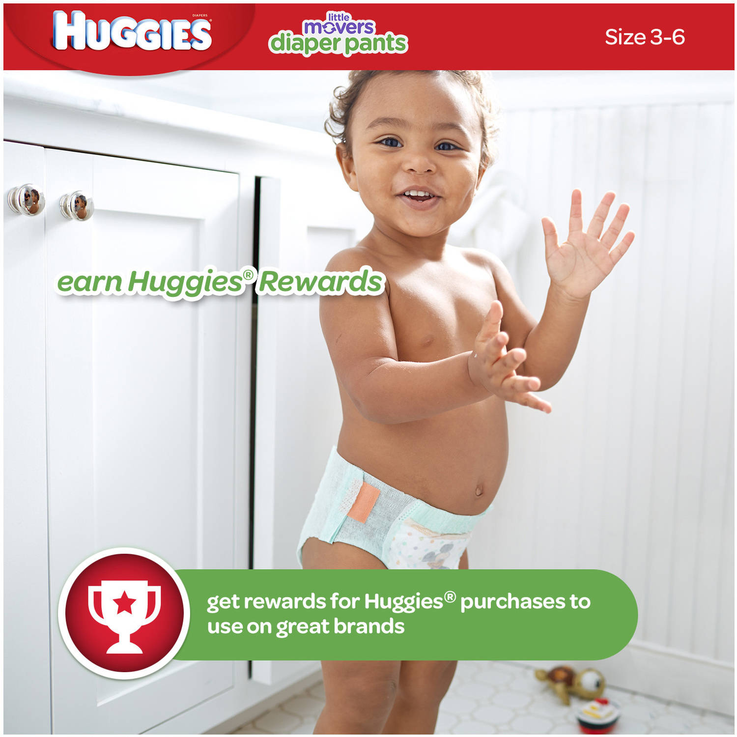 HUGGIES Little Movers Slip-On Diaper Pants, Size 6, 74 Diapers ...