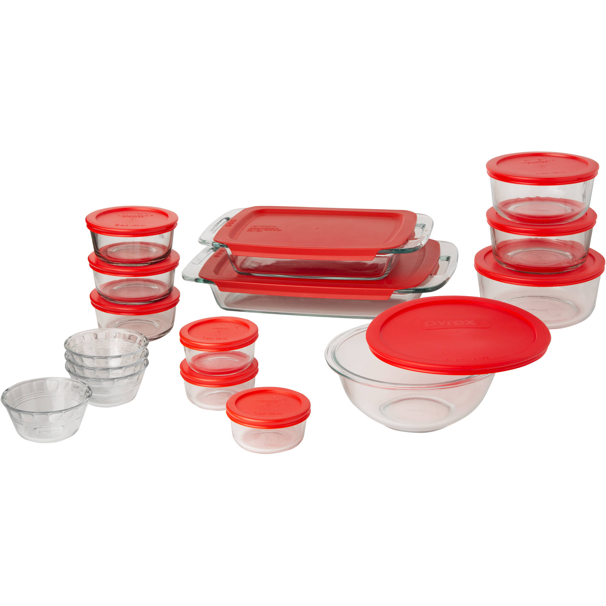 Pyrex Easy Grab 28-Piece Bake and Store Set, Red Food Storage, Bakeware