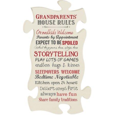 Funny Grandparent House Rule Beige White Original Wood Puzzle Art