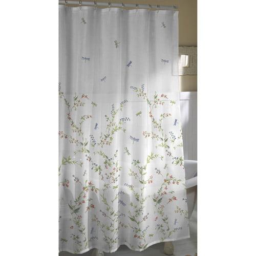 dragonfly garden fabric shower curtain - walmart