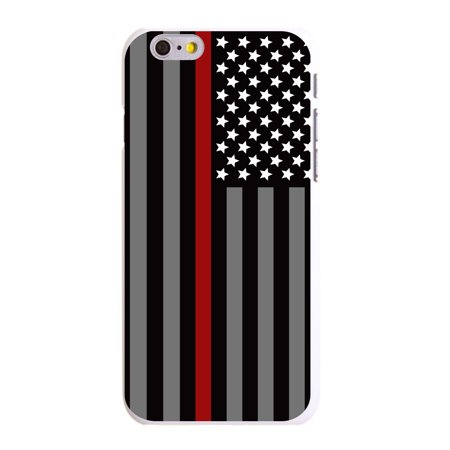 "CUSTOM White Hard Plastic Snap-On Case for Apple iPhone 6 PLUS / 6S PLUS (5.5"" Screen) - Thin Red Line US Flag Fire Rescue"