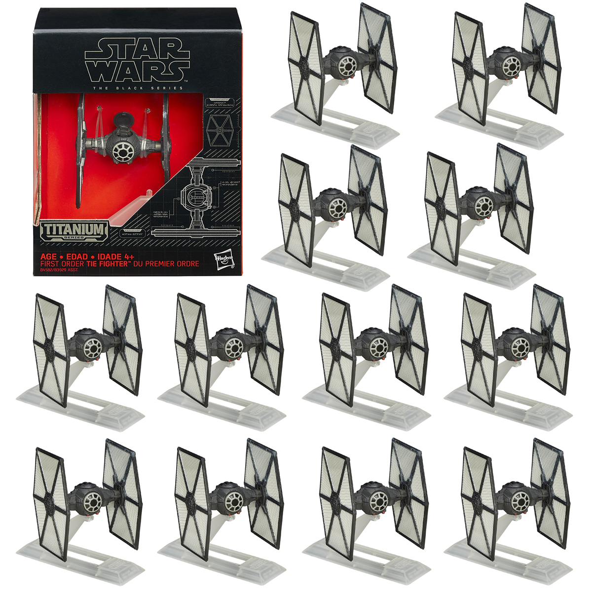 Star Wars 12 Pack Black Titanium Series TIE Fighters Spaceships & Stands By Hasbro by