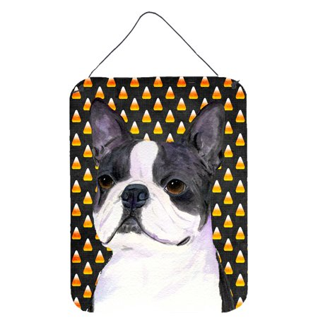 Boston Terrier Candy Corn Halloween Portrait Wall or Door Hanging - Halloween Portraits