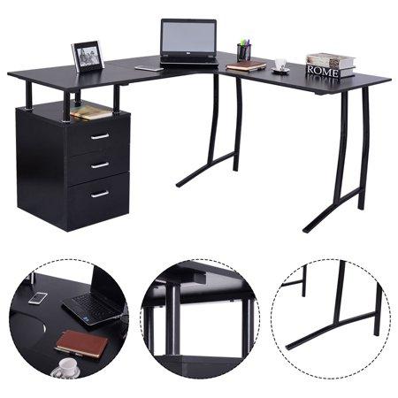 Costway L Shape Computer Desk Pc Laptop Table Workstation
