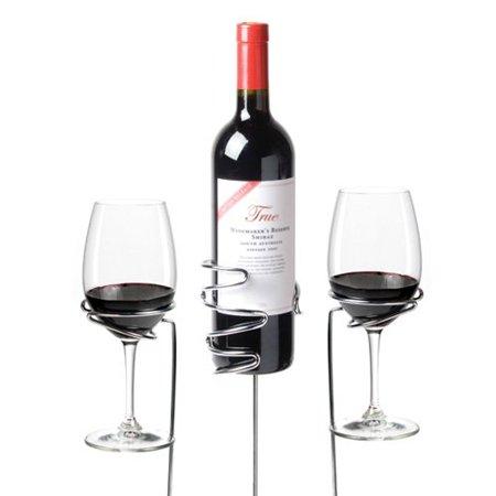 Small Bottle Holder, Chrome Drinking Wine Glass And Beer Bottle Holder, Set Of 3
