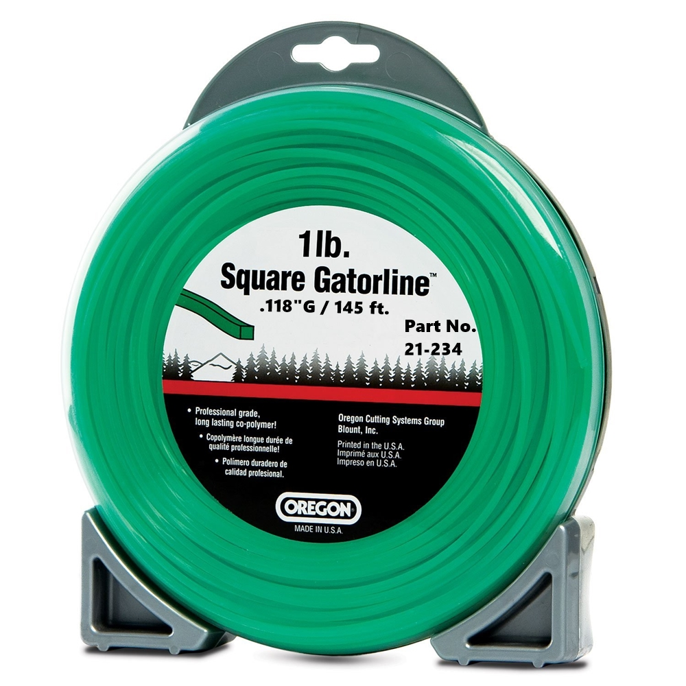 "Oregon Green Gatorline Square Weed Whacker String Trimmer Line .118""GA 145'  1 LB Commercial Grade Donut"