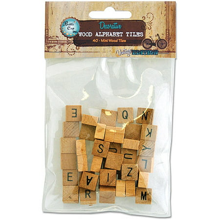 Vintage Collection Mini Wood Alphabet Tiles, 40pk (Alphabet Arts And Crafts)
