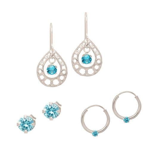 Blue Cubic Zirconia Earrings in Sterling Silver, Set of 3