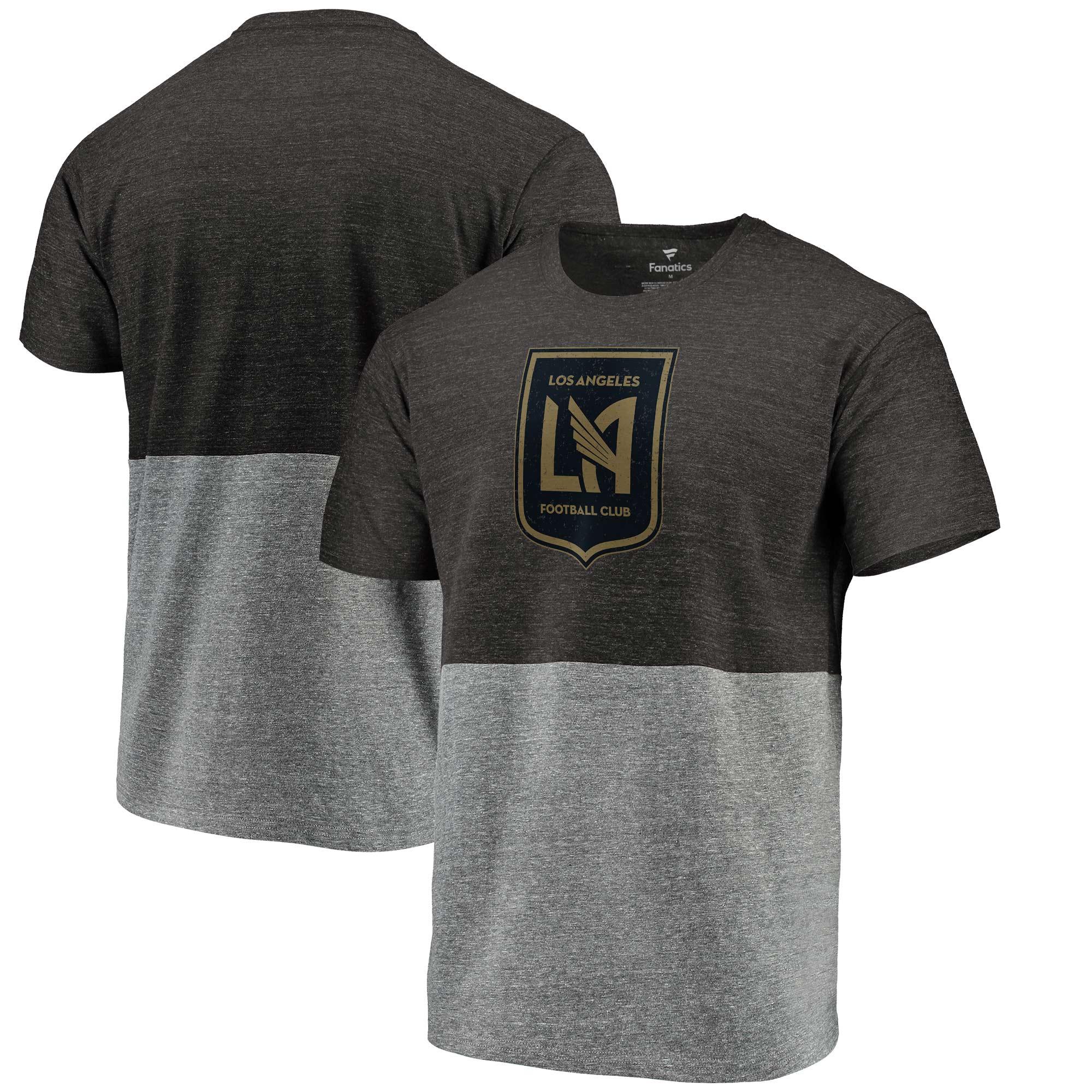 LAFC Fanatics Branded Colorblock Tri-Blend T-Shirt - Black/Heathered Gray