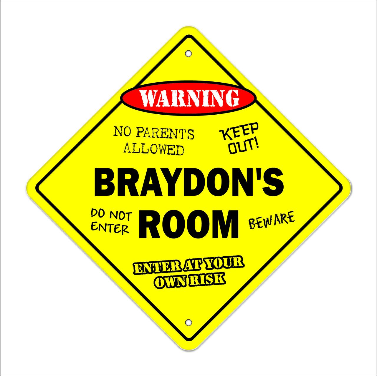 Caution Yellow Sign Girls or Teenagers Room Name Door Sign Black and Yellow Stripes