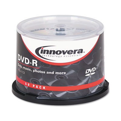 DVD-R Discs, 4.7GB, 16x, Spindle, Silver, 50/Pack, Sold as 1 Package, 50 Each per Package