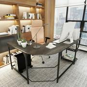 Reversible Panel L- Shaped Wood Computer Desk PC Laptop Steel Corner Table Workstation With S- Shaped bookshelves Home Office-Black Oak