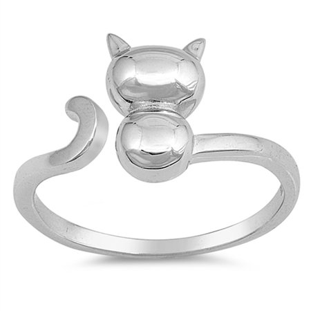 Open Cat Kitten Animal Polished Ring ( Sizes 4 5 6 7 8 9 10 ) New .925 Sterling Silver Band Rings by Sac Silver (Size 8) (Marc Jacobs Cat Ring)