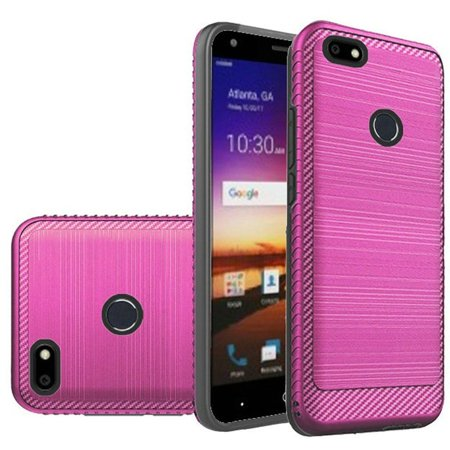 ZTE Blade X Case, by HR Wireless Dual Layer [Shock Absorbing] Hybrid Brushed Hard Plastic/Soft TPU Rubber Case Cover For ZTE Blade X, Hot Pink