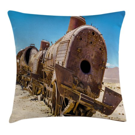 Vintage Throw Pillow Cushion Cover, Rusty Old Abandoned Steam Train Locomotive Cemetery Metal Railroad Wreck Picture, Decorative Square Accent Pillow Case, 18 X 18 Inches, Blue Brown, by - Picture Steam Train