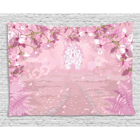 Fantasy Tapestry, Fairy Medieval Castle Silhouette in the Middle of Flower Botany Fern Surreal Image, Wall Hanging for Bedroom Living Room Dorm Decor, 80W X 60L Inches, Baby Pink, by Ambesonne