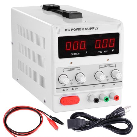Yescom 110V Input 30V 5A Output Precision Variable Digital DC Power Supply with Alligator Test Lead Set Great Test Leads