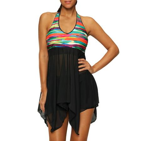 Women Swimwear Swimdress Butterfly Backless Tankini Sets Plus Size Beach Halter Layered  Swimsuit S-4XL 2 Piece