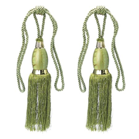 2Pcs Window Curtain Drapery Tassel Rope Tie Back Holdback Fringe Light Green](Tassels For Sale)