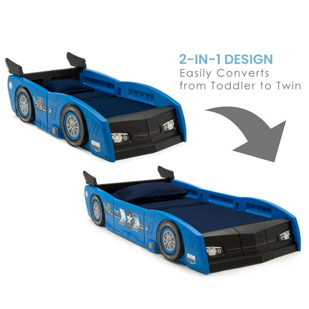 Delta Children Grand Prix Race Car Toddler and Twin Bed, Blue