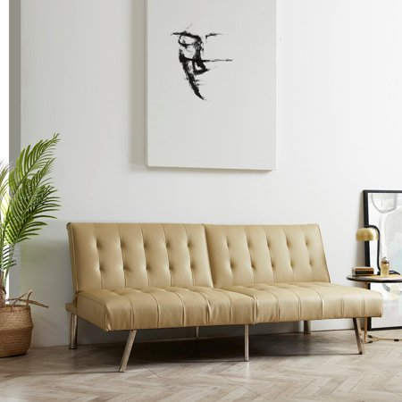 Naomi Home Tufted Split Back Futon Sofa-Color:Cream,Style:Linen