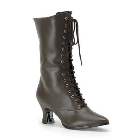 2 3/4 Inch Sexy Brown Victorian Ankle Boot Lace Up Costume Boots