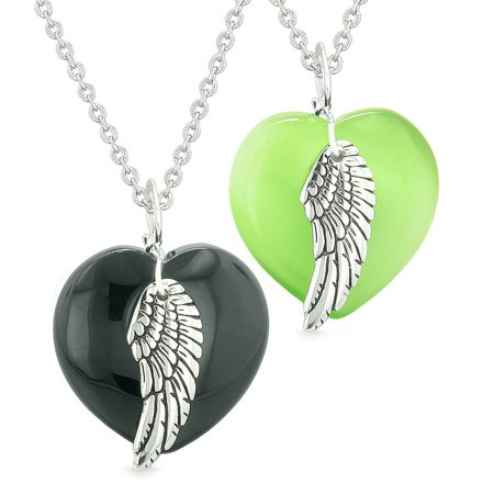 Amulets Angel Wing Hearts Love Couples Best Friends Black Agate Neon Green Simulated Cats Eye
