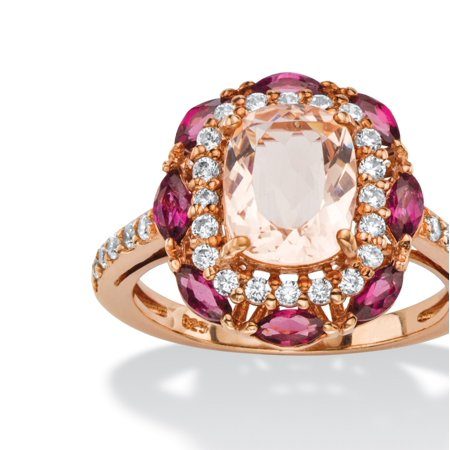 1.01 TCW Cushion-Cut Peach Glass, Rose Rhodolite and CZ Scalloped Halo Cocktail Ring in Rose Gold-Plated Sterling (Cushion Cut Cocktail Ring)