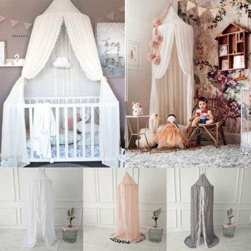 Kids Baby Bedcover Bed Canopy Mosquito Net Tent Chiffon Curtain Bedding Dome
