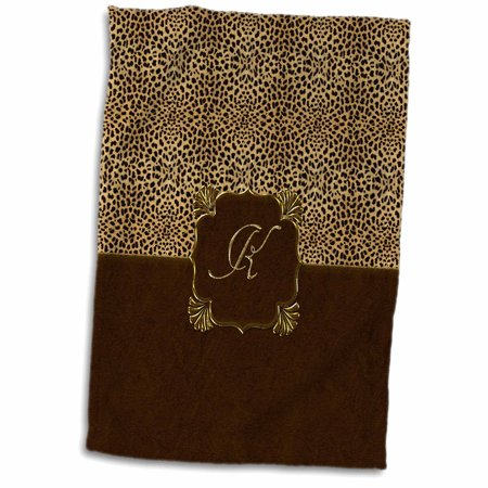 3dRose Elegant Animal Print in Warm Brown and Gold Monogram Letter K - Towel, 15 by 22-inch Painted Gold Monogram