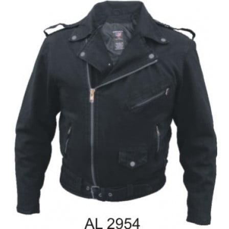 Men's Boy Fashion Medium Size Motorcycle Basic Black Denim Jacket 2 Inside Pockets With 3 Front Zippered Pockets ()