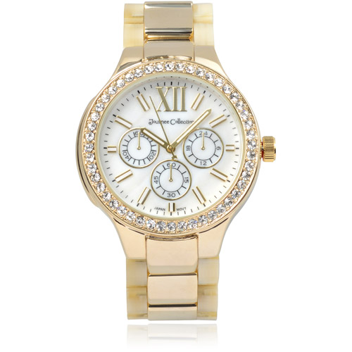 Journee Collection Women's Sterling Silver Rhinestone Link Fashion Watch