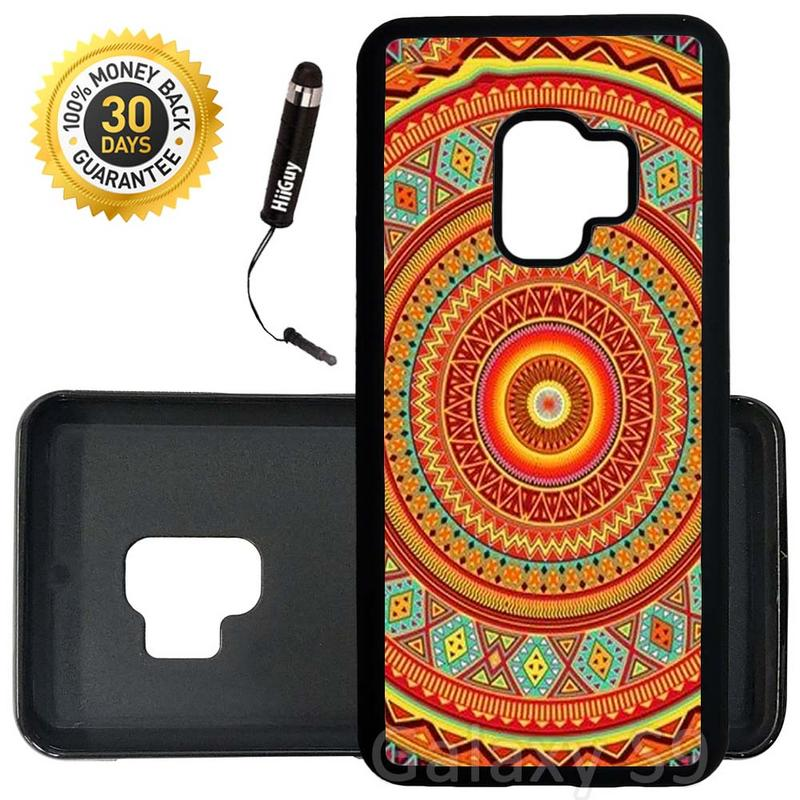 Custom Galaxy S9 Case (Orange Teal Yellow Tribal) Edge-to-Edge Rubber Black Cover Ultra Slim | Lightweight | Includes Stylus Pen by Innosub